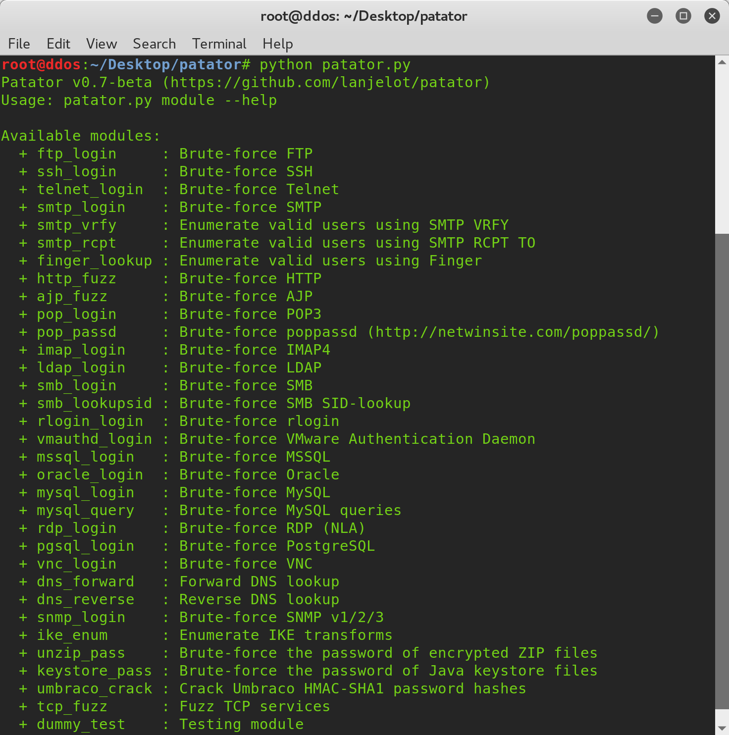 Brute force attacks with Patator