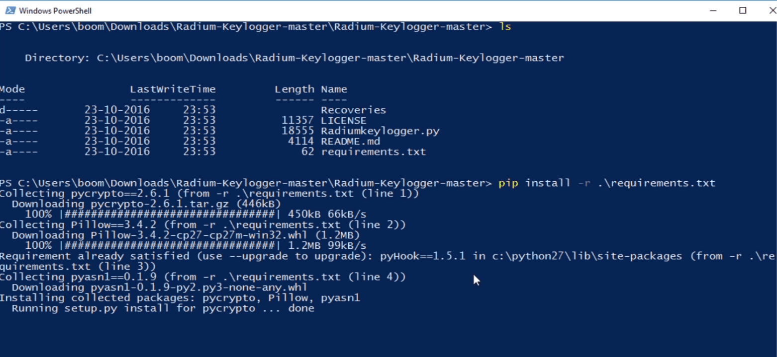 Radium-Keylogger: Python keylogger with multiple features