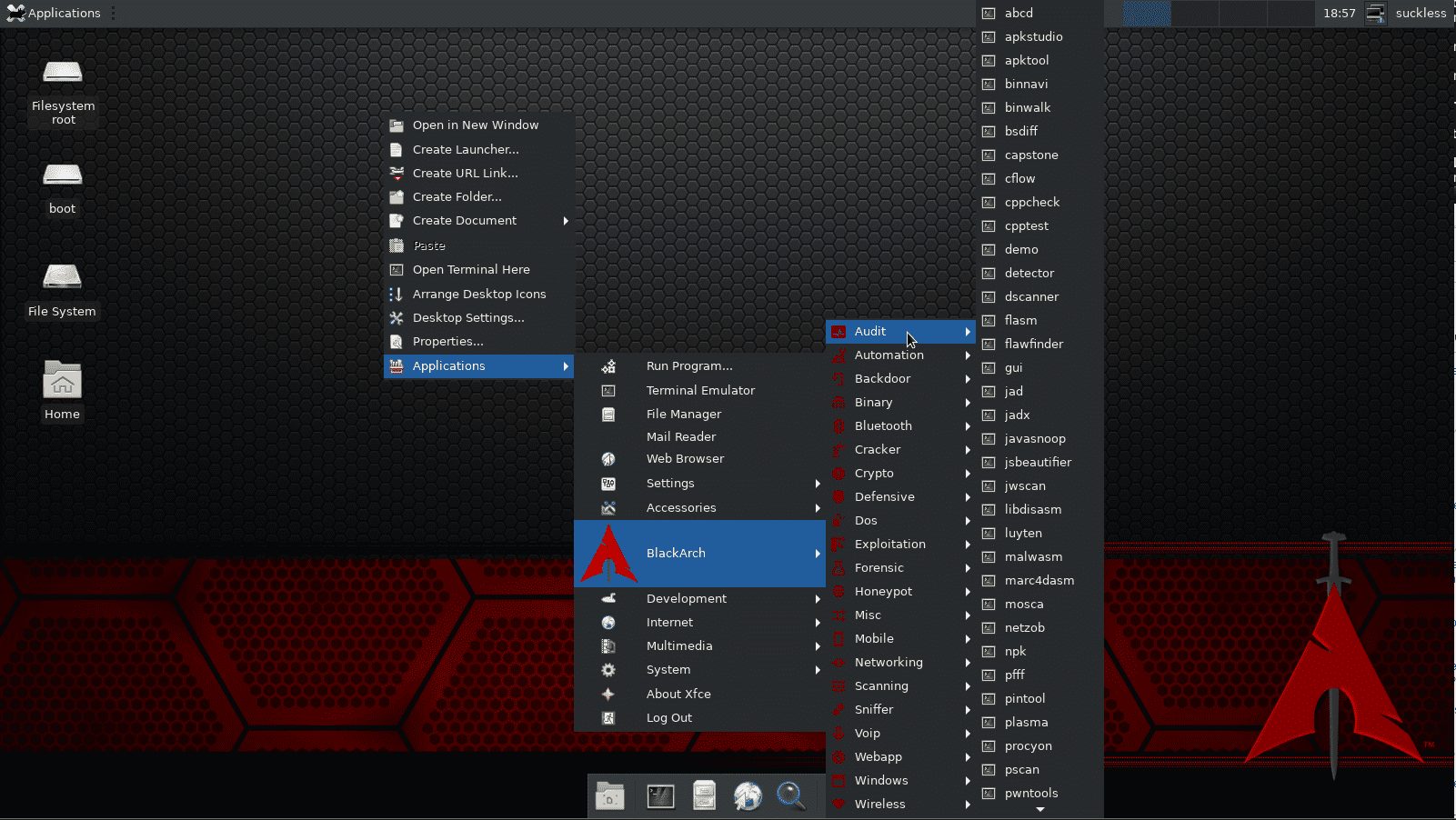 how toinstall xfce desktop manager on Blackarch Linux