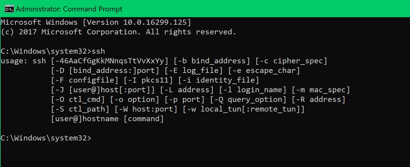 natively ssh windows 10