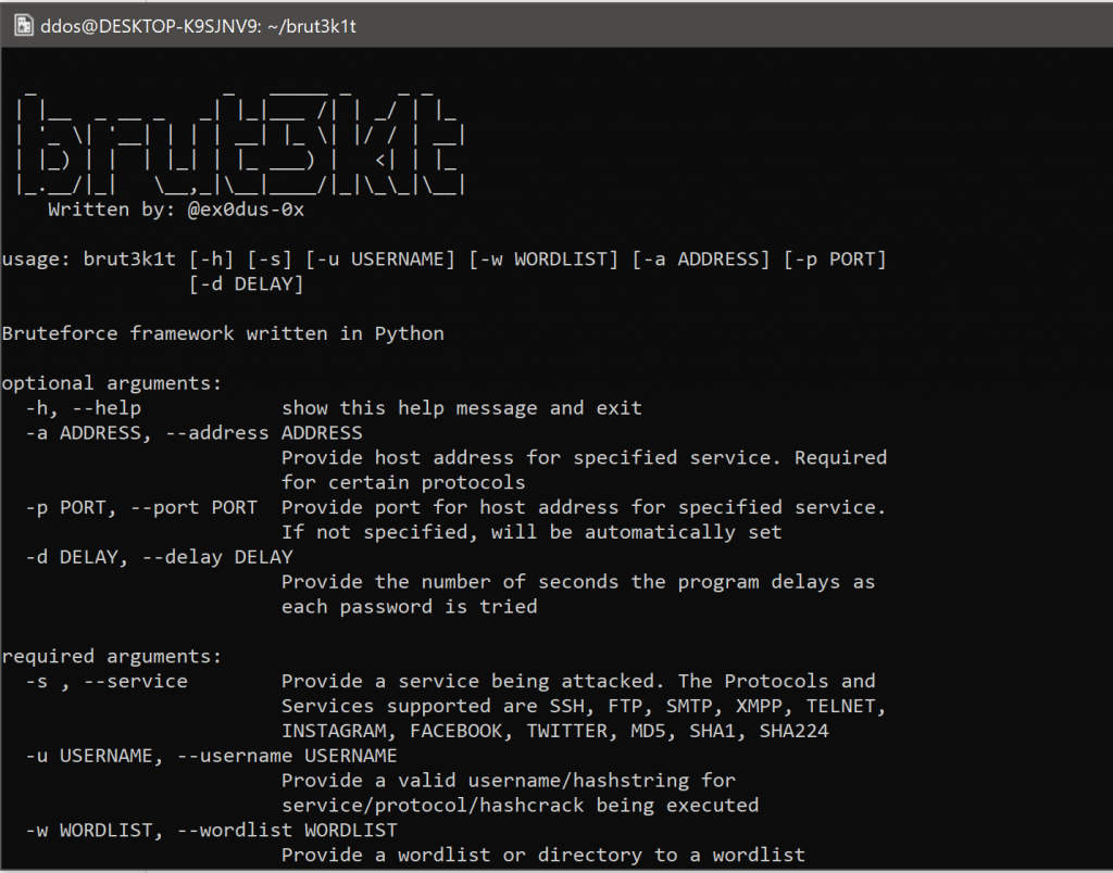 brut3k1t: bruteforce attacks framework • Penetration Testing