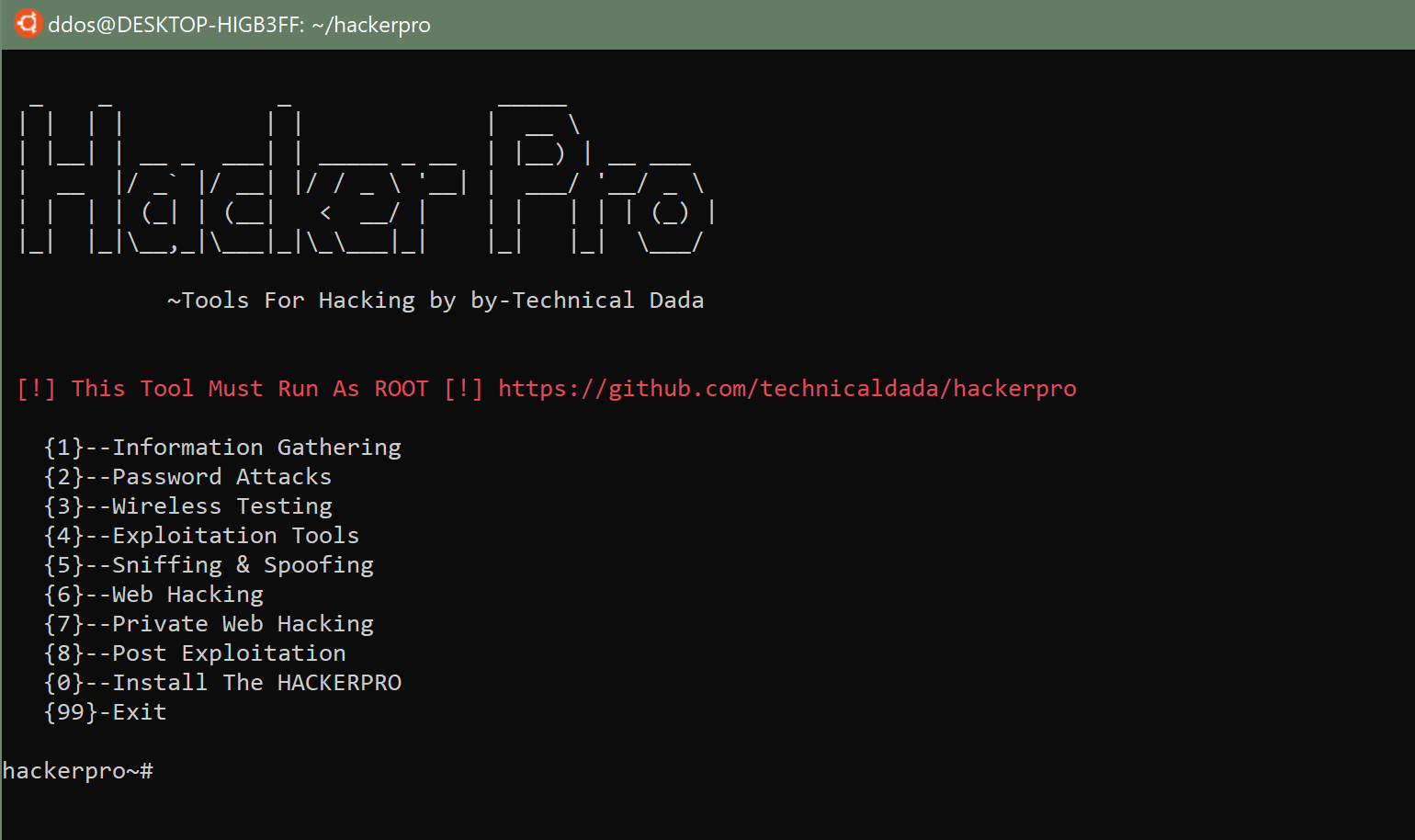 hackerpro: All in One Pentesing Tool for Linux & Android