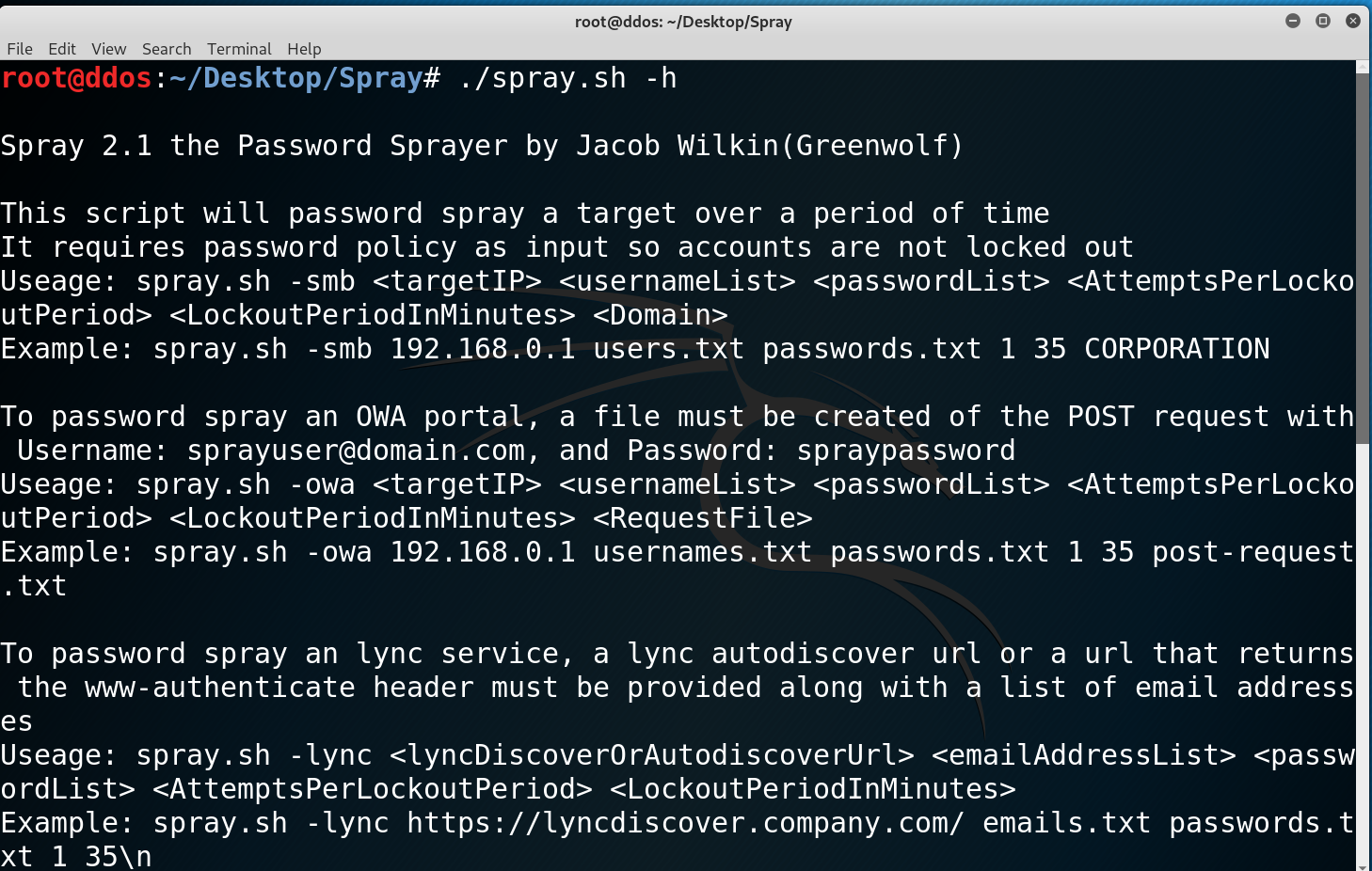 Spray: Password Spraying tool for Active Directory Credentials
